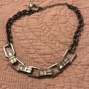 Single silver and rhinestone necklace